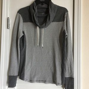 Eddie Bauer Women's Striped Cowl Neck Pullover - L